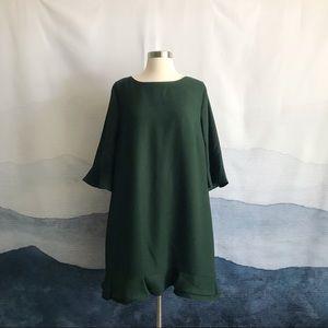 CeCe Kate Green 3/4 Sleeve Ruffle Dress